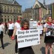 Protest tegen stierenrennen Pamplona in Amsterdam