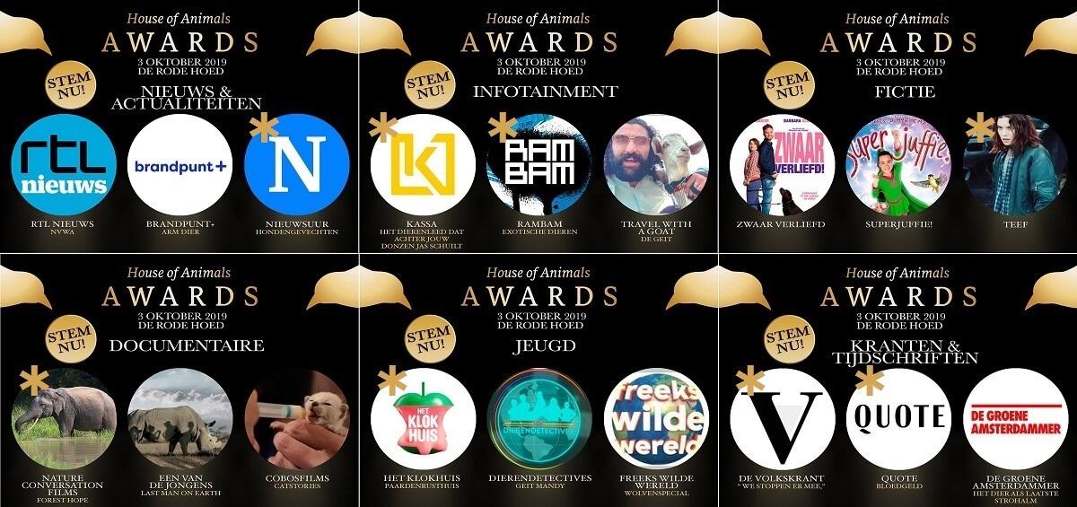 De winnaars van de Gouden Vogels - House of Animals Awards 2019