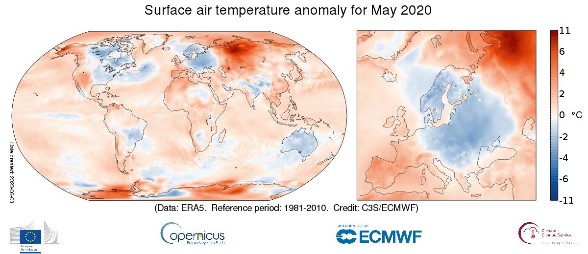 Globale temperatuur mei 2020