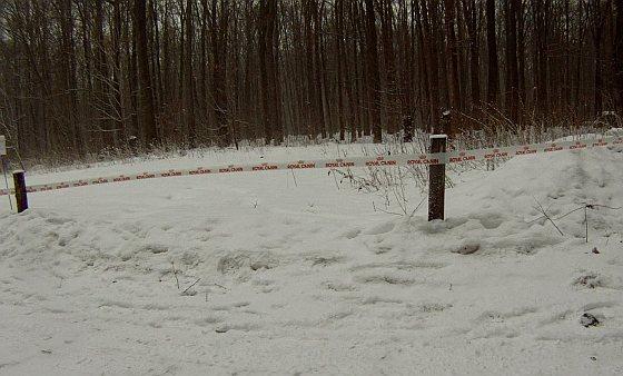 Afzetlint met logo Royal Canin bij beergevechten Oekraïene - Februari 2012