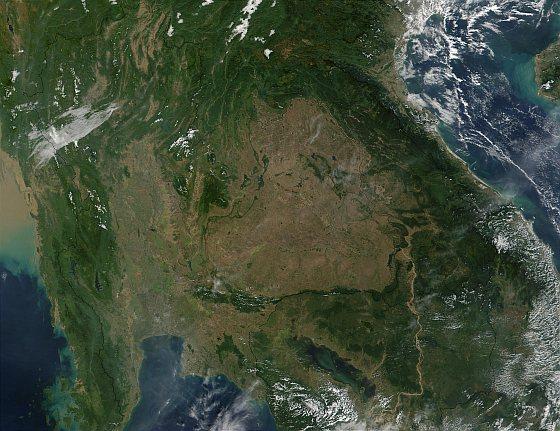 Satellietfoto Thailand en Cambodja