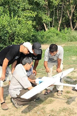 WWF Nepal staff met drone